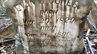 Evan Jones' tombstone was found by an American walker