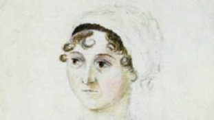 The original sketch of Austen by her sister Cassandra - complete with authentic Georgian costume.
