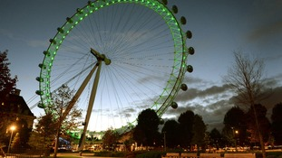 The London Eye glows green for Halloween