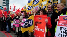 Members of public sector unions march in central London last November. 