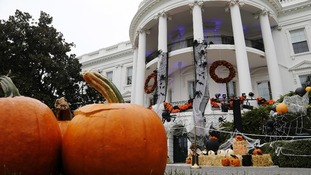 Jack-o'-lanterns and other Halloween decorations are displayed ahead of a children's Halloween reception in the White House