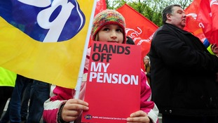 Annie Delaney, 8, joins Unite and PCS union members outside University Hospital Birmingham, Edgbaston.
