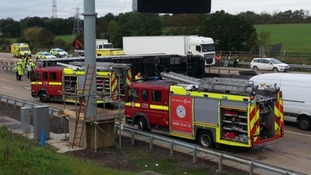 A stretch of road shut is between junction 23 at South Mimms and junction 25.