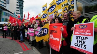 Unite and PCS union members outside University Hospital Birmingham, Edgbaston