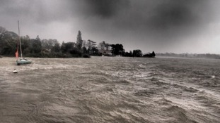 This picture, taken at Suffolk's Oulton Broad, shows the power of the storm.