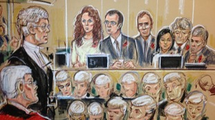 Andrew Edis QC, Rebekah Brooks, Andy Coulson, Clive Goodman , Cheryl Carter, Charlie Brooks and Mark Hanna.