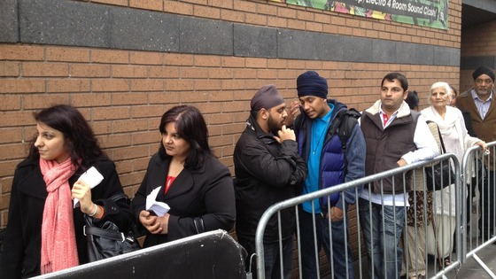 Crowds gathering outside Gatecrasher in Broad Street waiting for Malkit Singh