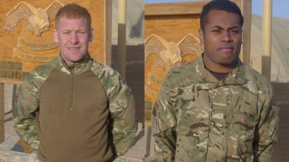 Cpl Roberts (left) + Pte Silibaravi (right)