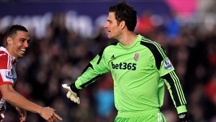 Goalkeeper Asmir Begovic celebrates after scoring in yesterday's match