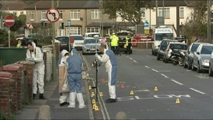 Forensic team at the scene in Gosport where two teenage girls were killed.