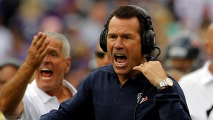 Houston Texans coach Gary Kubiak has been taken to hospital after collapsing in front of 70,000 fans.