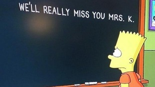 Bart scribbles the message on the school's blackboard to his old teacher.