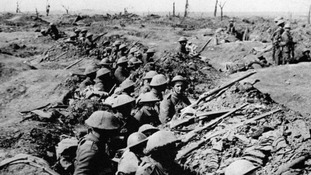 British infantrymen occupying a trench during the Battle of the Somme in 1916.
