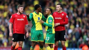 Leroy Fer's controversial 'goal' sparked heated exchanges between both sets of players.
