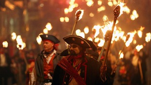 The Lewes Bonfire Society's parade in East Sussex.