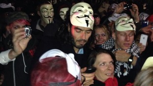 Russell Brand has been pictured with an Anonymous mask during the Million Mask March.