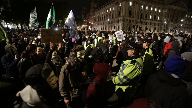Hundreds of protesters  gathered in Parliament Square as part of the Million Mask March.