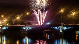 A firework display on Bonfire Night over the River Trent, Nottingham.