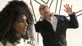 Sinitta and Harry Hill filming for Children in Need.