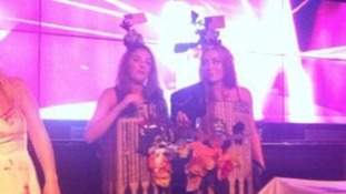 Amber Langford and Annie Collinge dressed as the Twin Towers.
