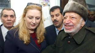 Palestinian president Yasser Arafat and his wife Suha pictured in October 2004, shortly before his departure for Paris.