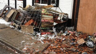 Stock damaged in the fire at Webb's store on the High Street in Tenterden