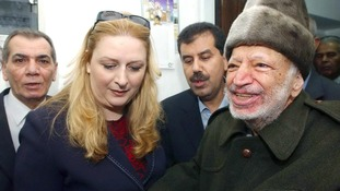 Yasser Arafat and his wife Suha pictured in October 2004, shortly before his departure for Paris. Credit: