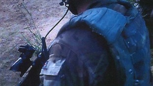 A Royal Marine is seen in the footage released.