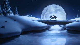 A snow-covered scene from the John Lewis Christmas ad campaign.