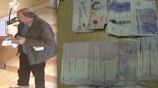 Freeman was caught on CCTV taking the money (left); and some of the cash discovered buried in Bowkett's garden (right)