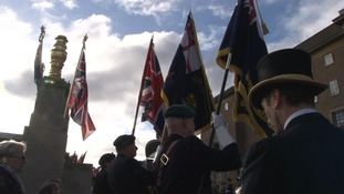 Standard bearers at the Norwich ceremony