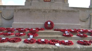 Poppy wreaths at Norwich's war memorial