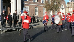 Colchester Scout Band parading through Clacton