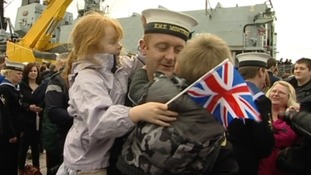 Jubilant scenes as HMS Montrose returns