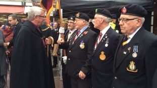 Veterans line up in Leicester for the Armistice Day service