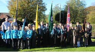 Scouts, Cubs and Guides from Breaston stood to attention at yesterday's ceremony