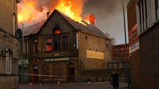 Flames spread through Stanley building
