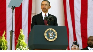 US President Barack Obama speaking at the Arlington National Cemetery in Washington.