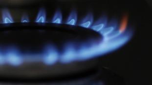 A lit gas hob.