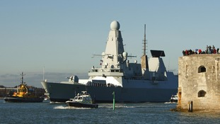 HMS Daring leaves Portsmouth dockyard