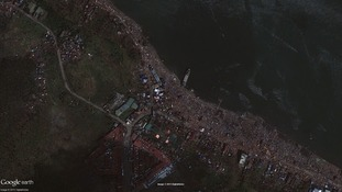 Before (above) and after Typhoon Haiyan in an area of Tacloban City