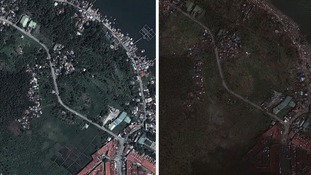 Before (left) and after Typhoon Haiyan hit Tacloban in the central Philippines