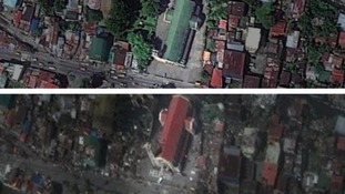 The Church before (top) and after Friday's typhoon