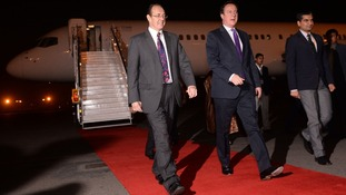 Prime Minister David Cameron arriving in Delhi yesterday.