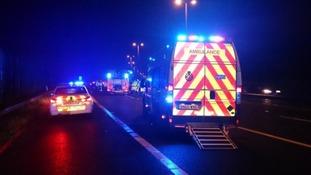The crash involved three cars and a HGV