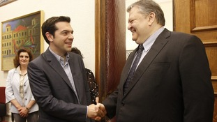 ocialist PASOK party leader Venizelos and Greece's Left Coalition