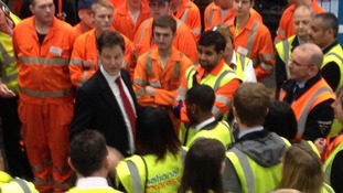Nick Clegg chats to National Express workers