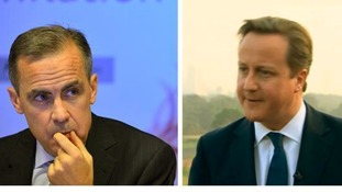 Bank of England governor Mark Carney (L) and Prime Minister David Cameron
