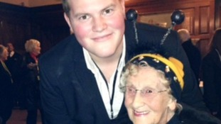 """Bee Lady"" Jean Bishop and X-Factor's Ryan Mathie at Hull's Xmas Lights switch-on"