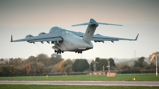 The C-17 Globemaster departs from RAF Brize Norton taking aid to the Philippines